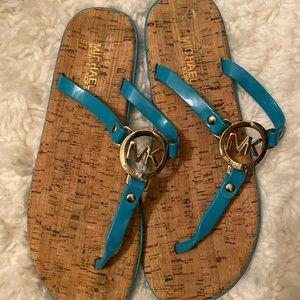 Michael Kors turquoise flat sandals